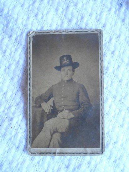 Civil War CDV Photo Artillery Soldier Big Hat Insignia