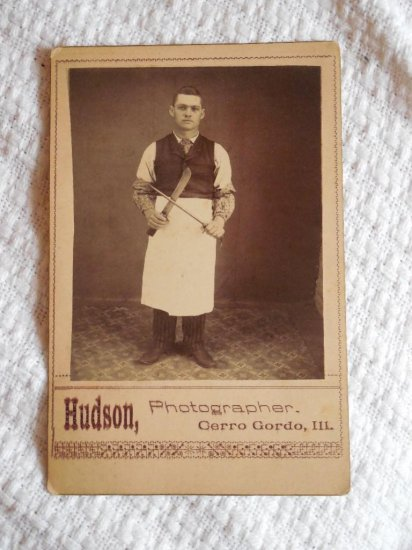 Unusual Cabinet Card Photo Occupational Butcher w/info
