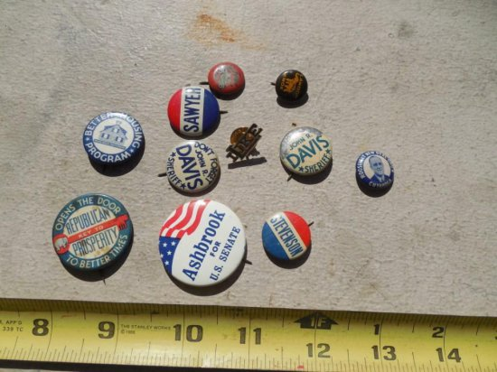 Group Lot Old Political Buttons Unusual Cleveland