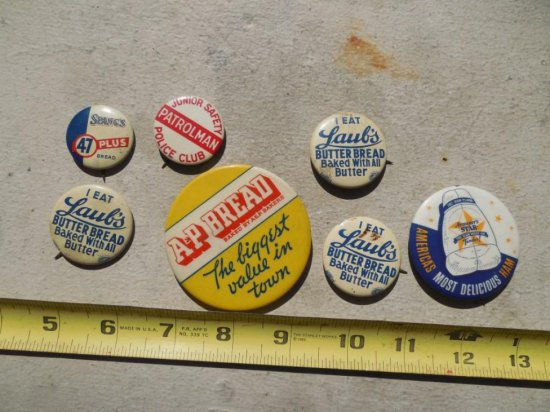 Group Lot 1930s Advertising Buttons Bread Etc