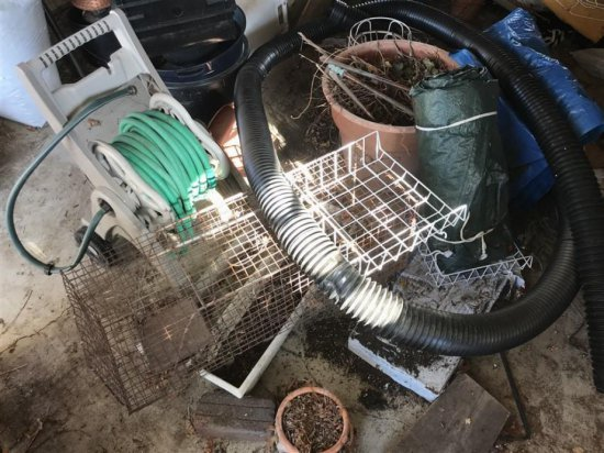 Clean Out Lot Inc. Animal Trap, Hose On Reel, Tarps