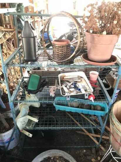 Metal Shelf And Items On It Lot