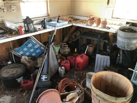 Garage Corner Clean Out Lot - Tools, Tin Tubs, Lic Plates Etc