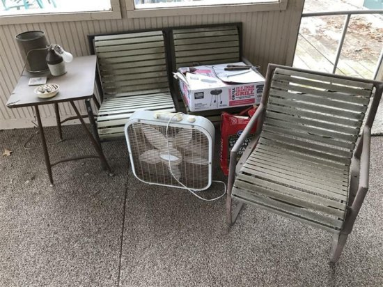 Group Lot Misc. Vintage Metal Patio Chairs Etc
