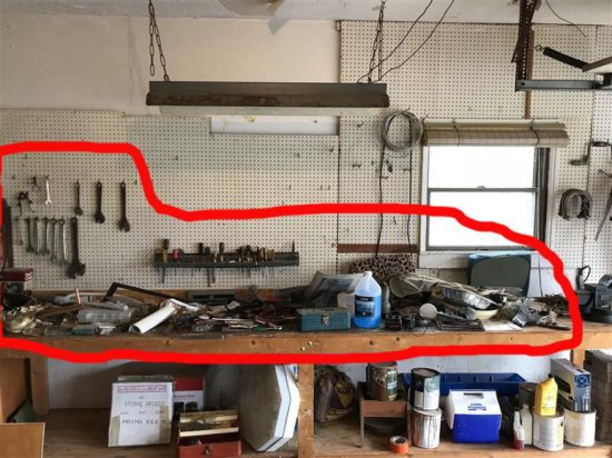 Bench Top Lot Of Tools Inc Wrenches, Hand Tools