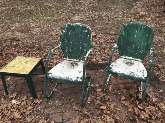 2 Vintage Metal Patio Chairs Plus Table
