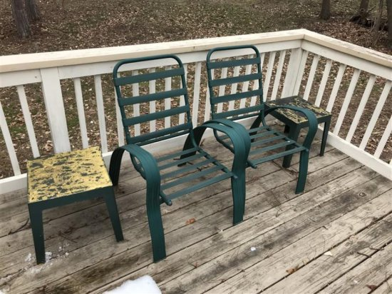 2 Metal Vintage Patio Chairs + 2 Stools (plastic)