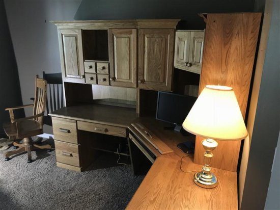 Amish Made Large Solid Oak Office Corner Unit