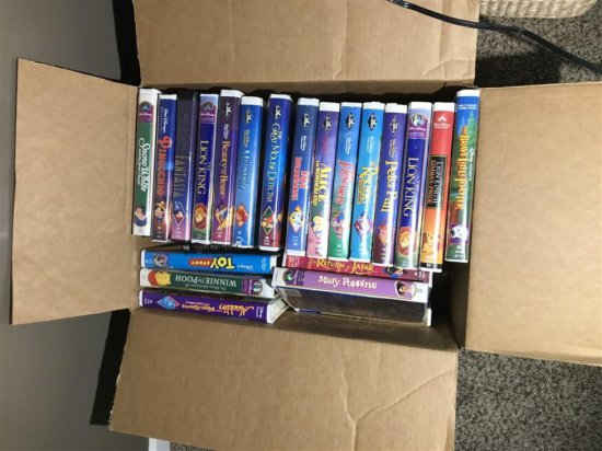 Box lot of Mostly Kids' VHS tapes