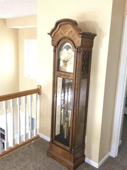 Vintage Howard Miller Grandfather Tall Case Clock