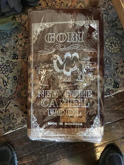 Vintage Gobi Pure Camel Wool Blanket in Package