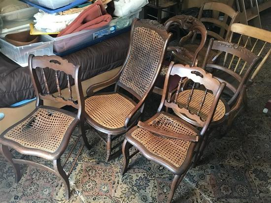 Group Lot of 7 Antique Chairs Inc. Rose Carved