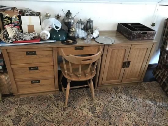 Vintage MCM Desk, Cabinet and Chair