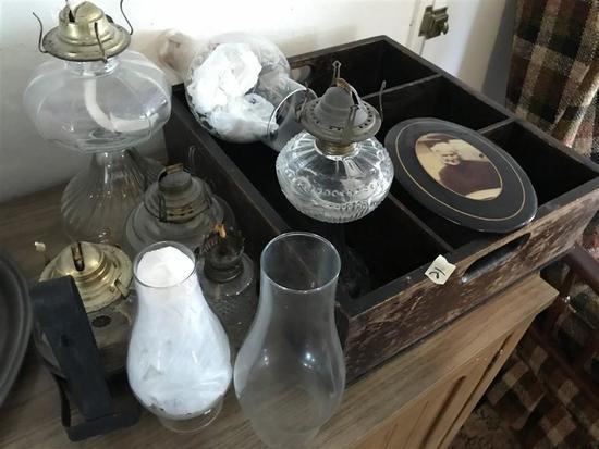 Group Lot Vintage Lanterns, Photo, Tray