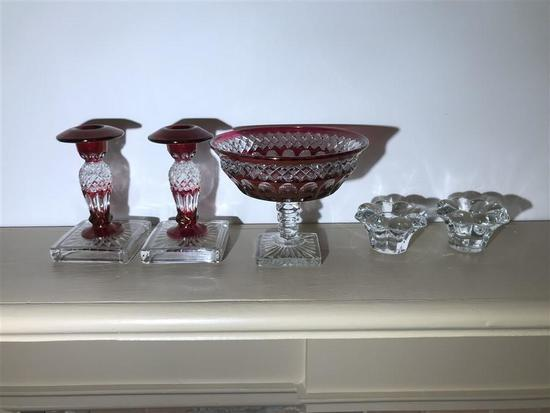 Group Lot Antique Glass Including Ruby Pressed