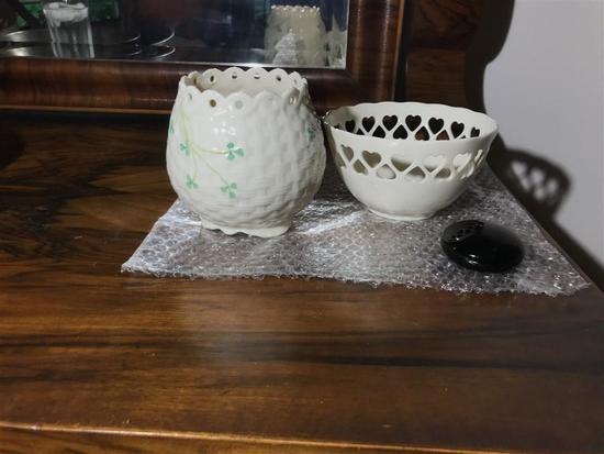 Three ceramic Pieces Including Belleek