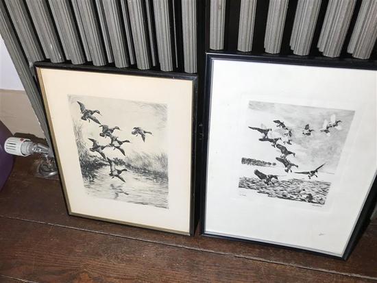 2 Signed Duck Etchings in Frames Bishop & Clark