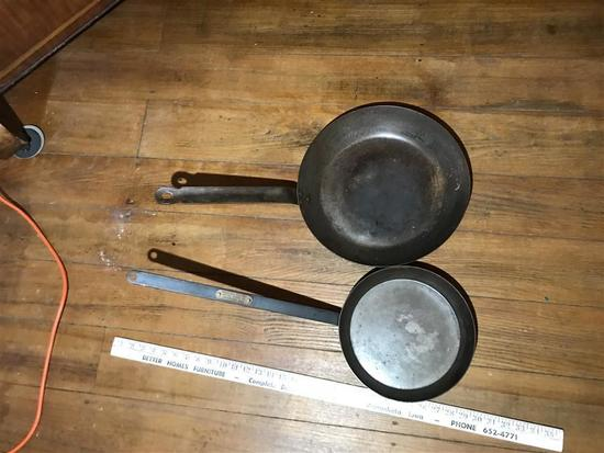 2 Antique Primitive Pans Steel Greenfield Products