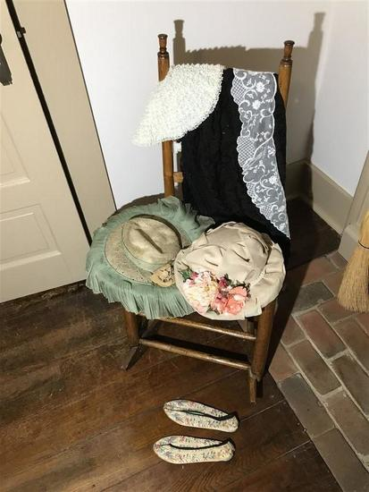Lot Antique Clothing, Hats Inc. Chinese Shoes