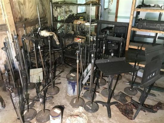 Huge Lot Floor Microphone Stands, Wires, Shelves