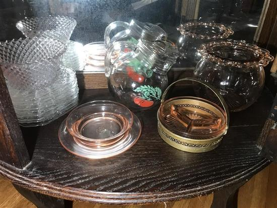 One Shelf Lot Antique Glassware Inc. Depression