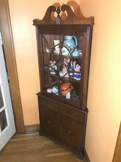Antique Wooden Corner Cupboard Federal Style