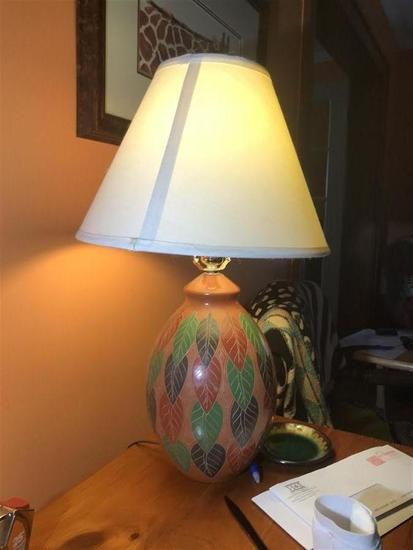 Vintage Lamp with Leaf Pattern
