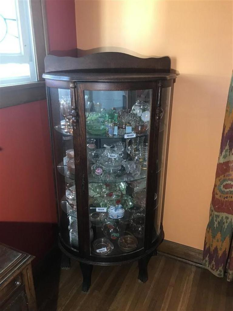 Antique Oak Curved Glass china Cabinet - Antique Oak Curved Glass China... Auctions Online Proxibid