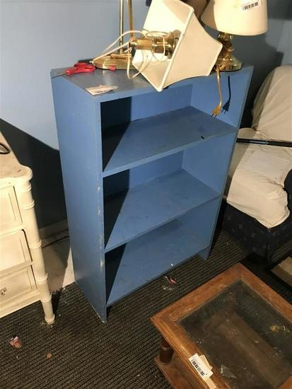Vintage Blue Painted Wooden Bookshelf