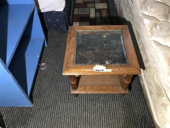 Small Glass Top End Table or Nightstand