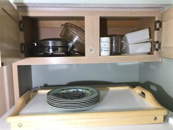 Contents of Cupboards and Small Table Lot