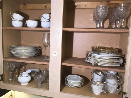 Contents of Cupboard Lot Early Fine China Etc