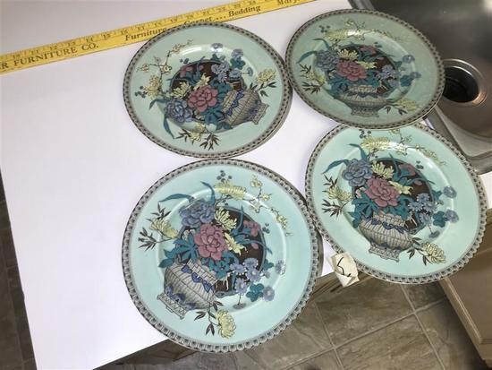4 Clarice Cliff Plates Rare Pattern Unusual