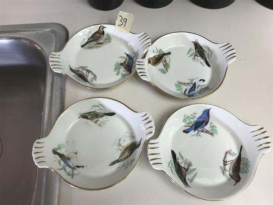 Four Handed Painted Bird Pattern Small Plates