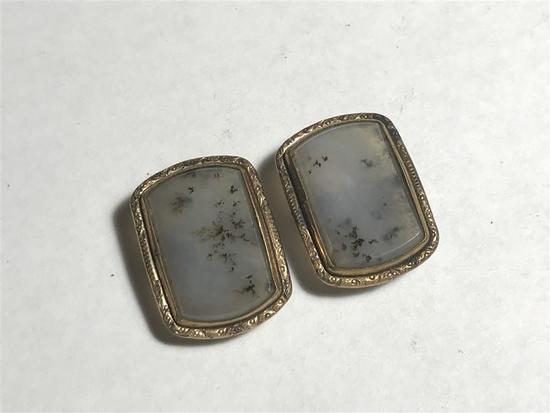 Pair Quartz and and Gold Filled Cufflinks antique