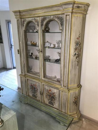 Older Italian Painted Country Style China Cabinet