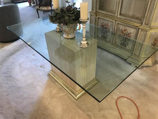 High end glass table on marble base