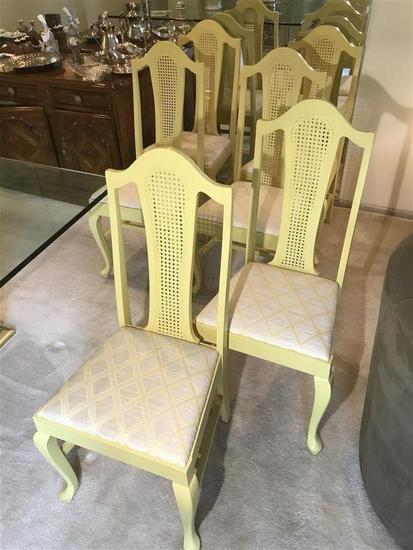 Group lot of 6 dining room chairs in yellow