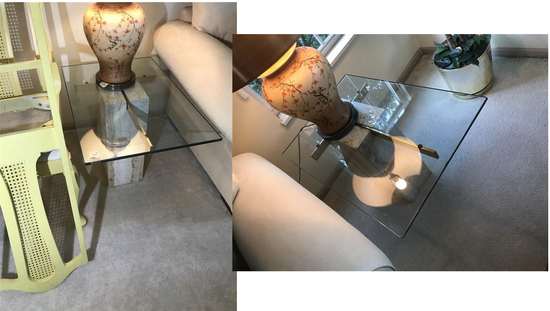 Pair high-end glass topped marble base side tables