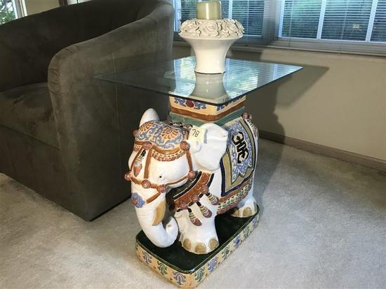 Vietnamese Majolica Ceramic Elephant Table w/top
