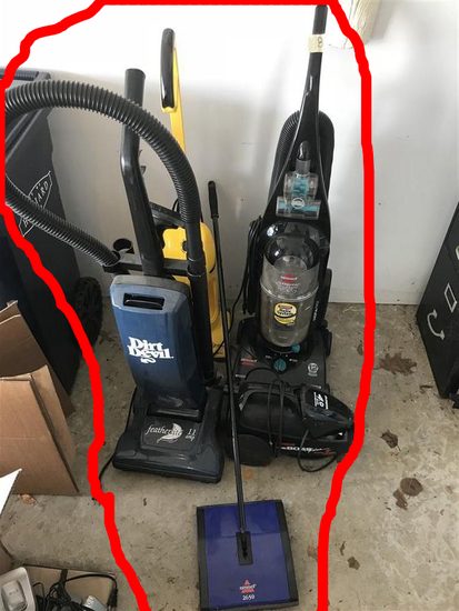 Group of 4 Vacuum Cleaners and a Sweeper