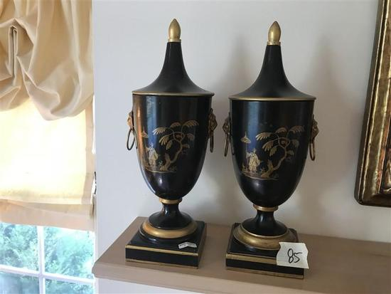 Pair Vintage MCM Made in Italy Decorative Urns