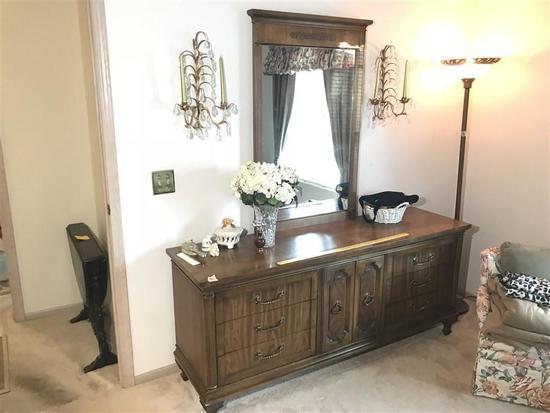 Large Vintage Dresser With Mirror