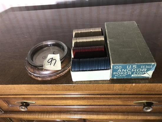 Vintage Poker Chips in Box PLUS Ashtray