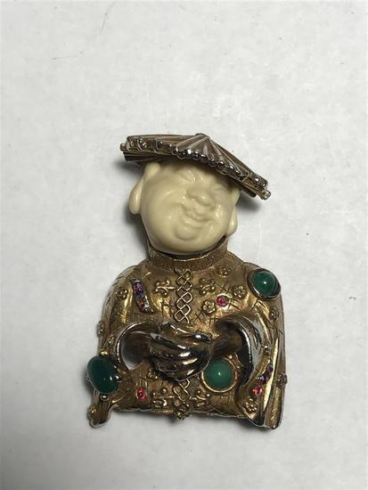 Vintage Chinaman Brooch Pin Costume Jewelry by HAR