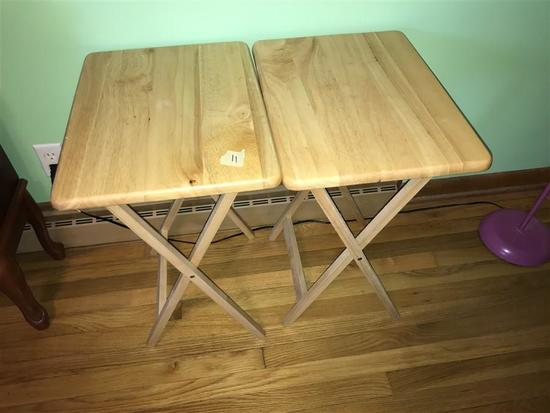 Two Vintage Wooden TV Tables