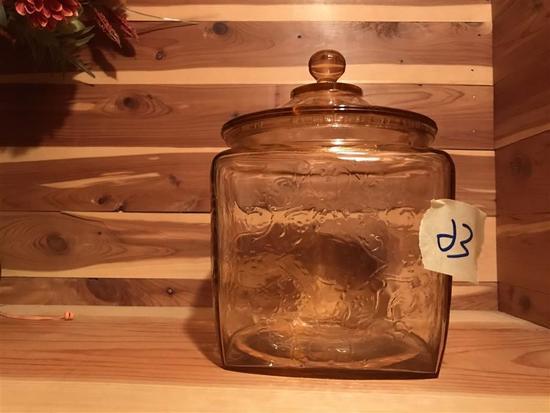 Pink depression glass lidded jar
