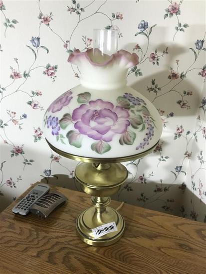 Vintage Hand Painted Fenton Lamp w/Brass Bottom