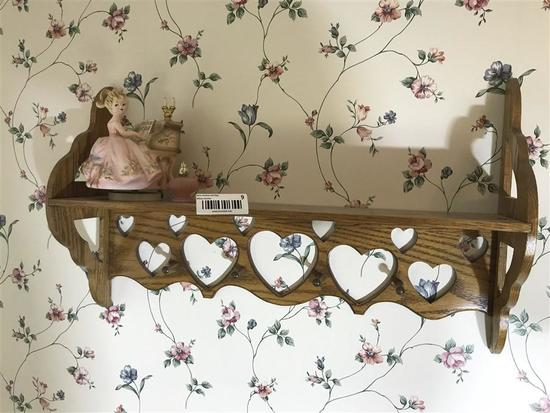 Vintage Oak Wall Shelf w/Figurine