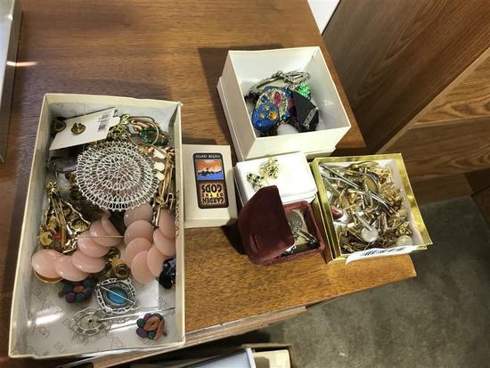 Jewelry Lot Box Cufflinks, Sterling Silver Charms